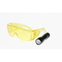 "LAMPA UV MINI BRIGHT TORCH, 9 LED + OKULARY, RK1230, 3 BATERIE ""AAA"" 1,5V, ERRECOM"